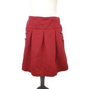 Anthropologie Elevenses Red Pleated Mini Skirt 10